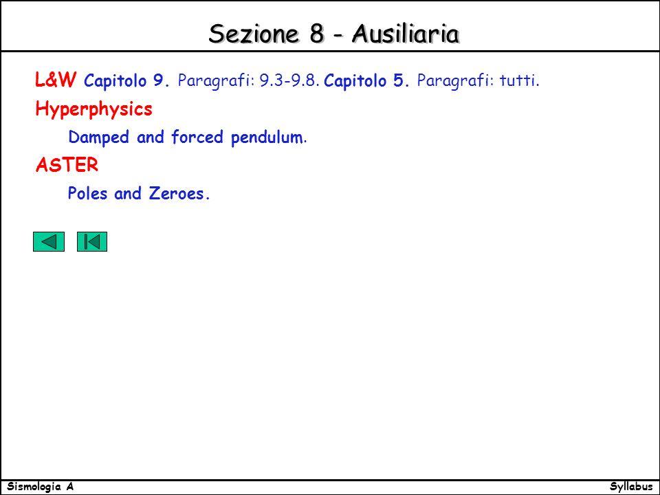 SyllabusSismologia A Sezione 8 - Ausiliaria L&W Capitolo 9.