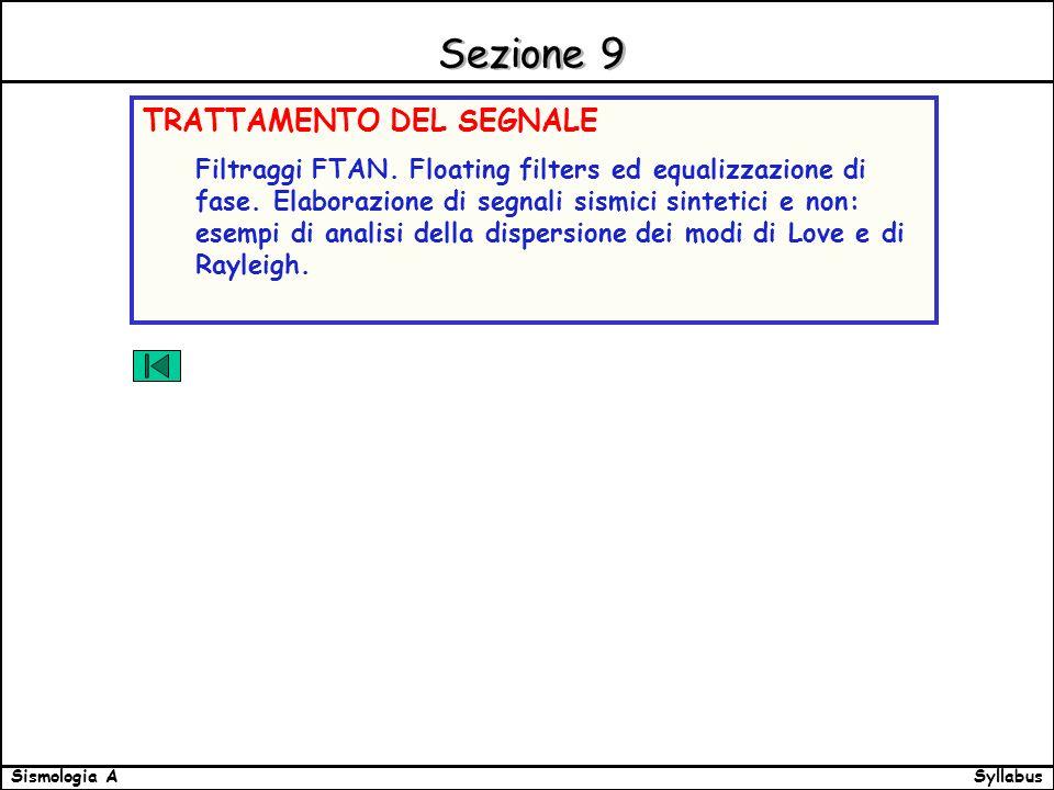 SyllabusSismologia A Sezione 9 TRATTAMENTO DEL SEGNALE Filtraggi FTAN.