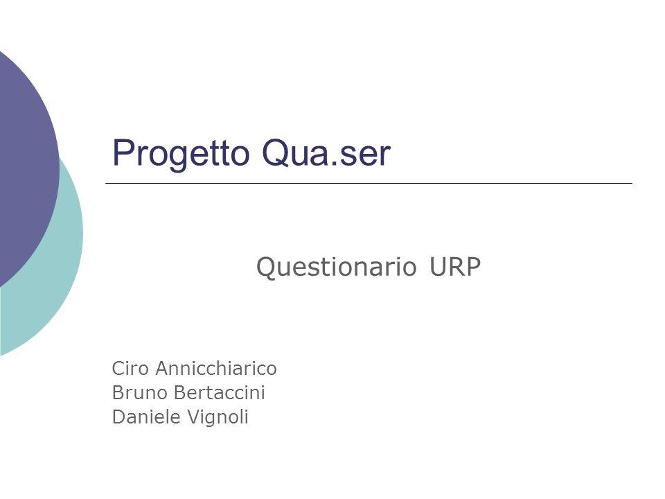 Progetto Qua.ser Questionario URP Ciro Annicchiarico Bruno Bertaccini Daniele Vignoli