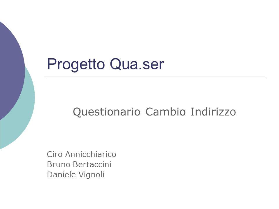 Progetto Qua.ser Questionario Cambio Indirizzo Ciro Annicchiarico Bruno Bertaccini Daniele Vignoli