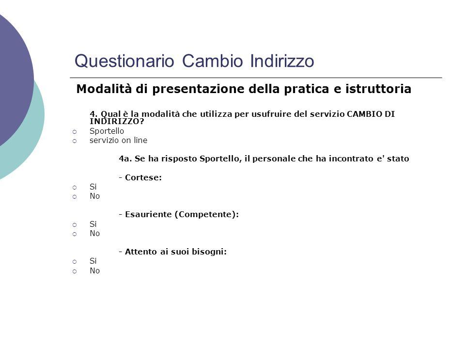 Questionario Cambio Indirizzo 4.