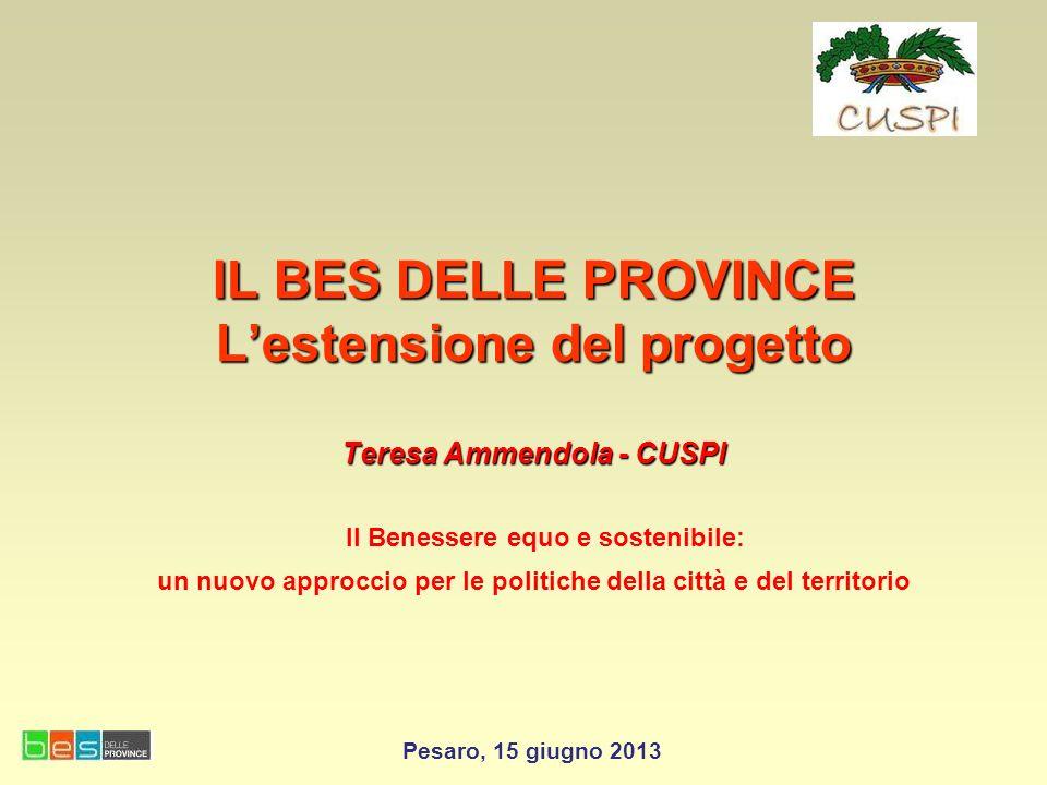 IL BES DELLE PROVINCE Lestensione del progetto Teresa Ammendola - CUSPI IL BES DELLE PROVINCE Lestensione del progetto Teresa Ammendola - CUSPI Il Ben