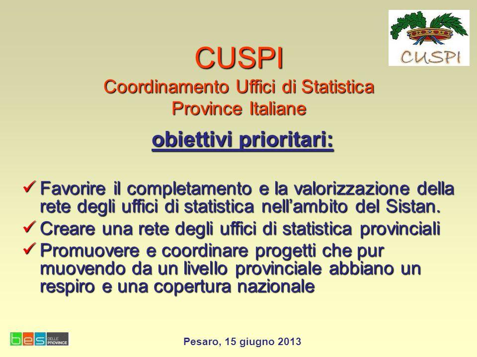 CUSPI Coordinamento Uffici di Statistica Province Italiane obiettivi prioritari: Favorire il completamento e la valorizzazione della rete degli uffici