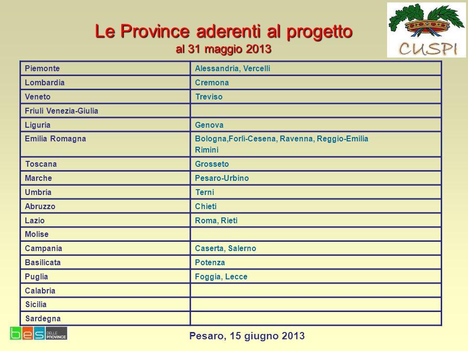 Le Province aderenti al progetto al 31 maggio 2013 PiemonteAlessandria, Vercelli LombardiaCremona VenetoTreviso Friuli Venezia-Giulia LiguriaGenova Em