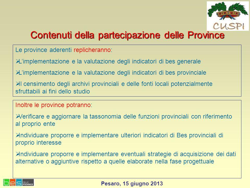 Contenuti della partecipazione delle Province Le province aderenti replicheranno: Limplementazione e la valutazione degli indicatori di bes generale L