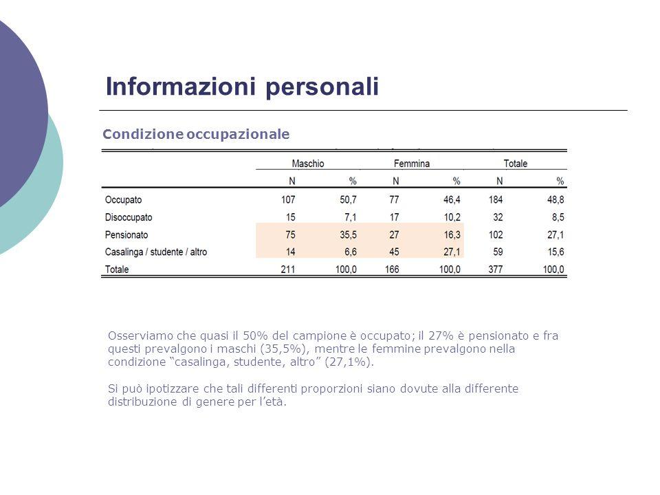 Condizione occupazionale Informazioni personali Osserviamo che quasi il 50% del campione è occupato; il 27% è pensionato e fra questi prevalgono i maschi (35,5%), mentre le femmine prevalgono nella condizione casalinga, studente, altro (27,1%).