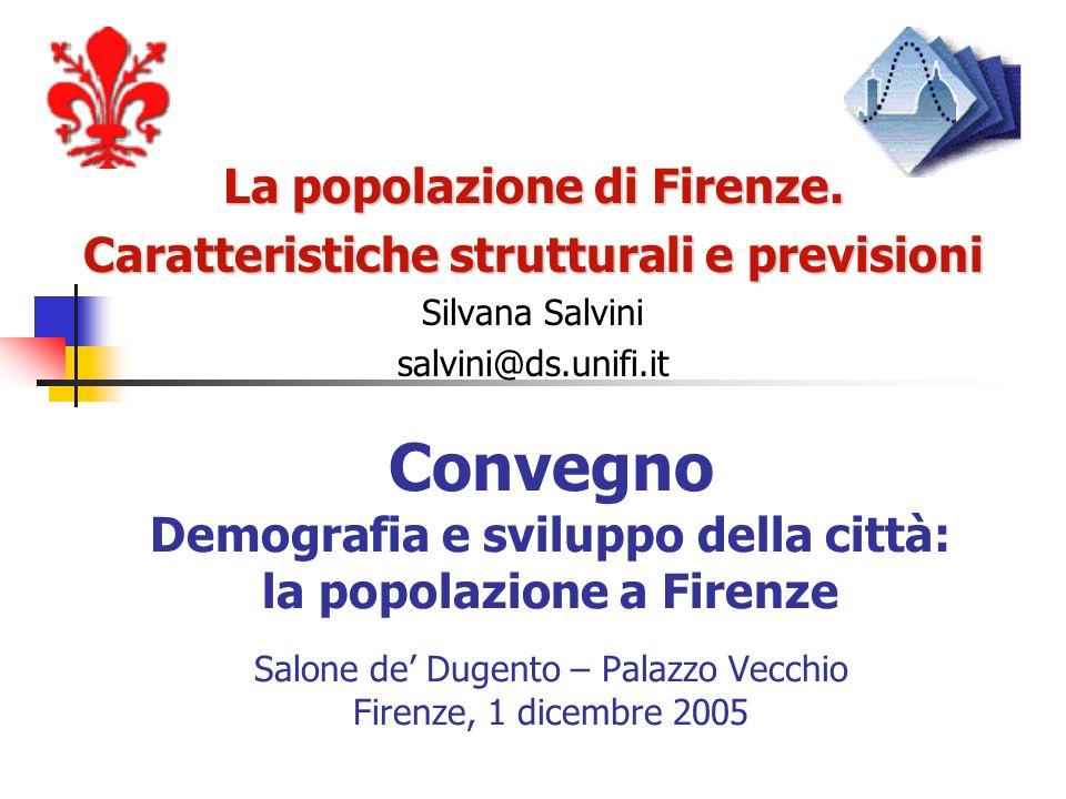 Convegno Demografia e sviluppo della città: la popolazione a Firenze Salone de Dugento – Palazzo Vecchio Firenze, 1 dicembre 2005 La popolazione di Fi
