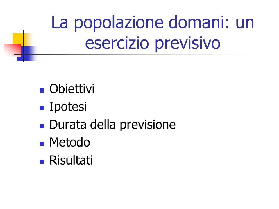 La popolazione domani: un esercizio previsivo Obiettivi Ipotesi Durata della previsione Metodo Risultati