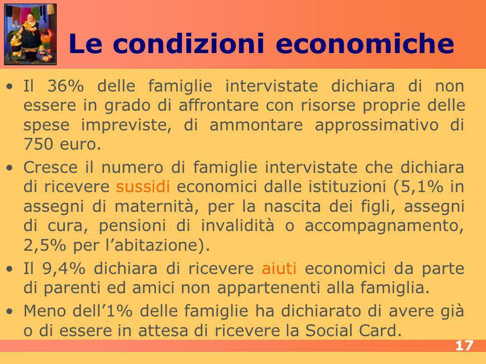 Le condizioni economiche Il 36% delle famiglie intervistate dichiara di non essere in grado di affrontare con risorse proprie delle spese impreviste, di ammontare approssimativo di 750 euro.