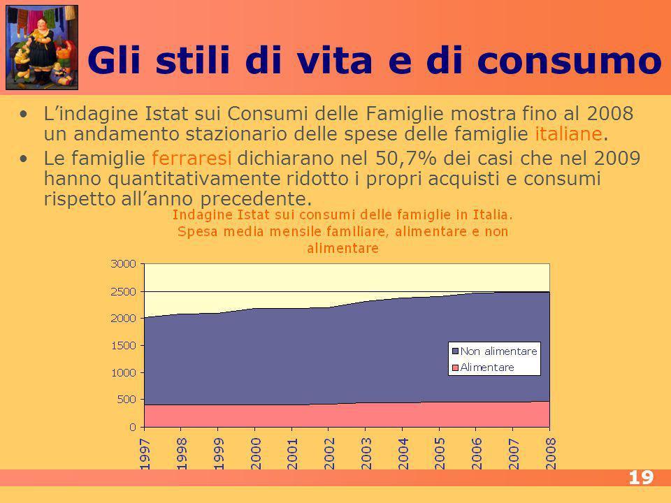 Gli stili di vita e di consumo Lindagine Istat sui Consumi delle Famiglie mostra fino al 2008 un andamento stazionario delle spese delle famiglie italiane.