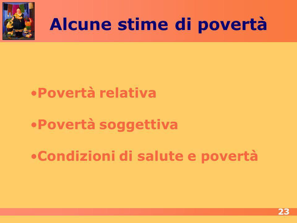Povertà relativa Povertà soggettiva Condizioni di salute e povertà Alcune stime di povertà 23