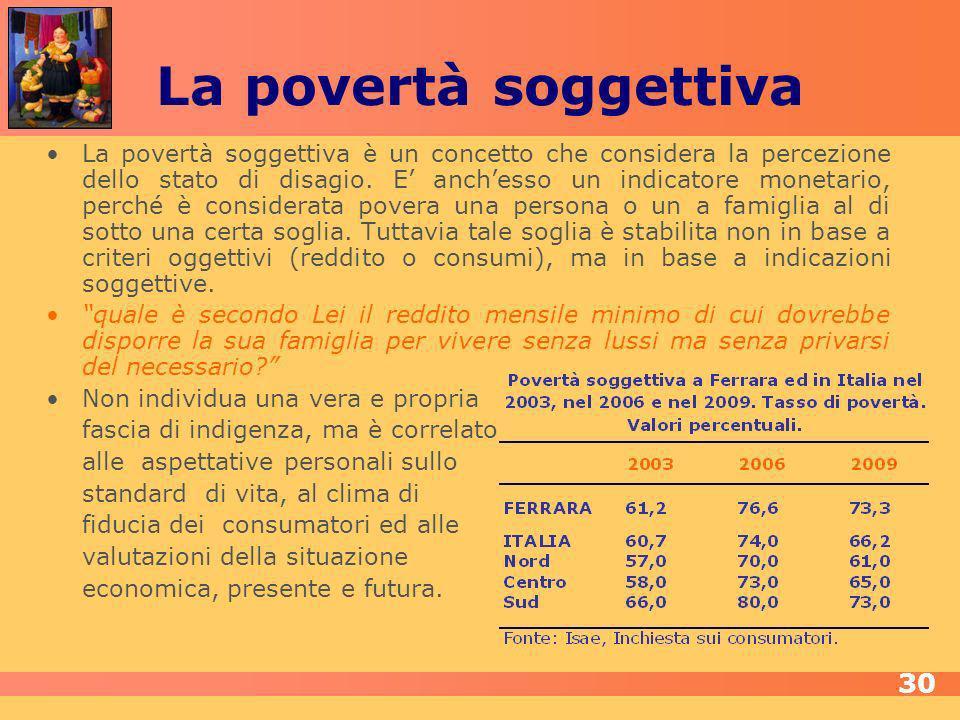 La povertà soggettiva La povertà soggettiva è un concetto che considera la percezione dello stato di disagio.