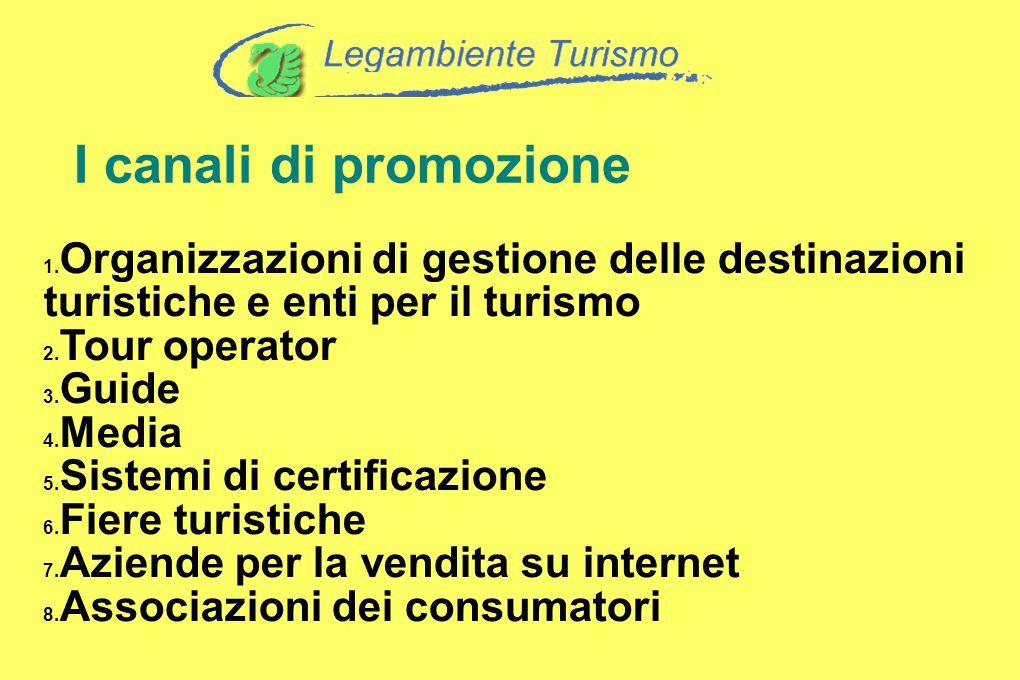 I canali di promozione Organizzazioni di gestione delle destinazioni turistiche e enti per il turismo Tour operator Guide Media Sistemi di certificazi