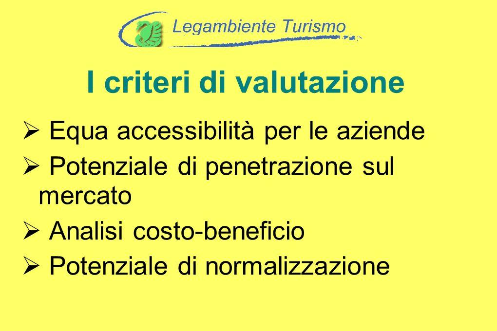 I criteri di valutazione Equa accessibilità per le aziende Potenziale di penetrazione sul mercato Analisi costo-beneficio Potenziale di normalizzazion