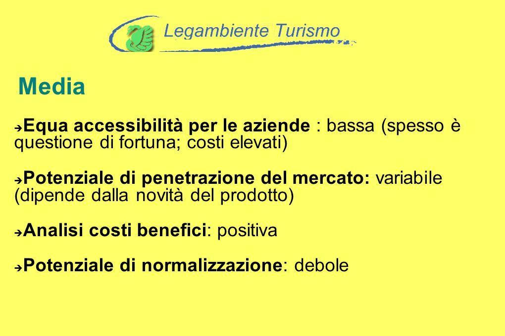 Media Equa accessibilità per le aziende : bassa (spesso è questione di fortuna; costi elevati) Potenziale di penetrazione del mercato: variabile (dipe