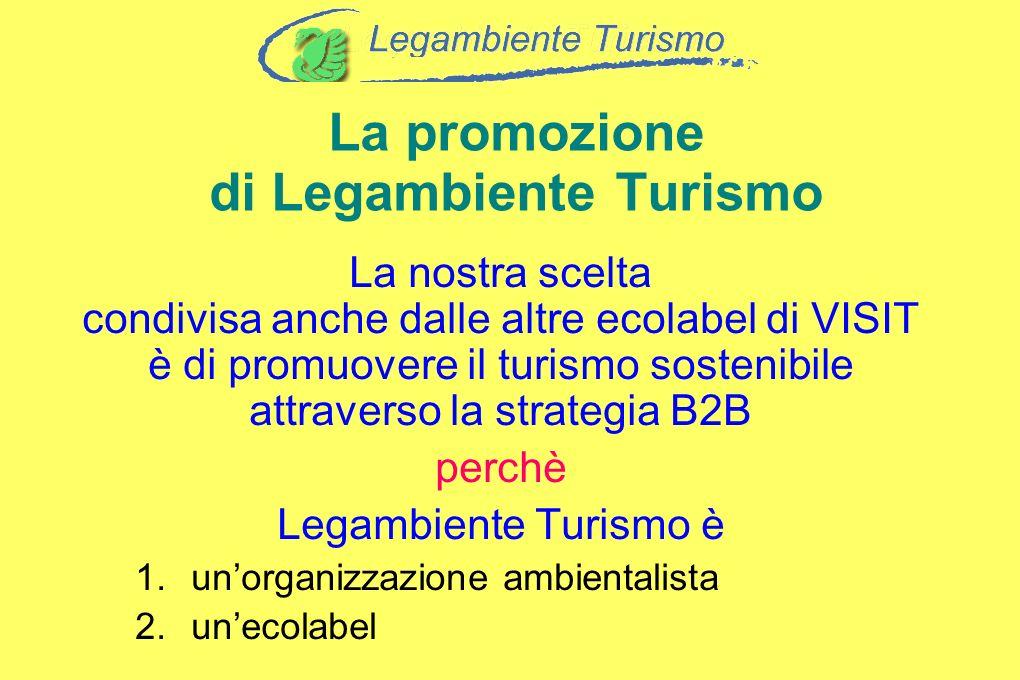 La promozione di Legambiente Turismo La nostra scelta condivisa anche dalle altre ecolabel di VISIT è di promuovere il turismo sostenibile attraverso