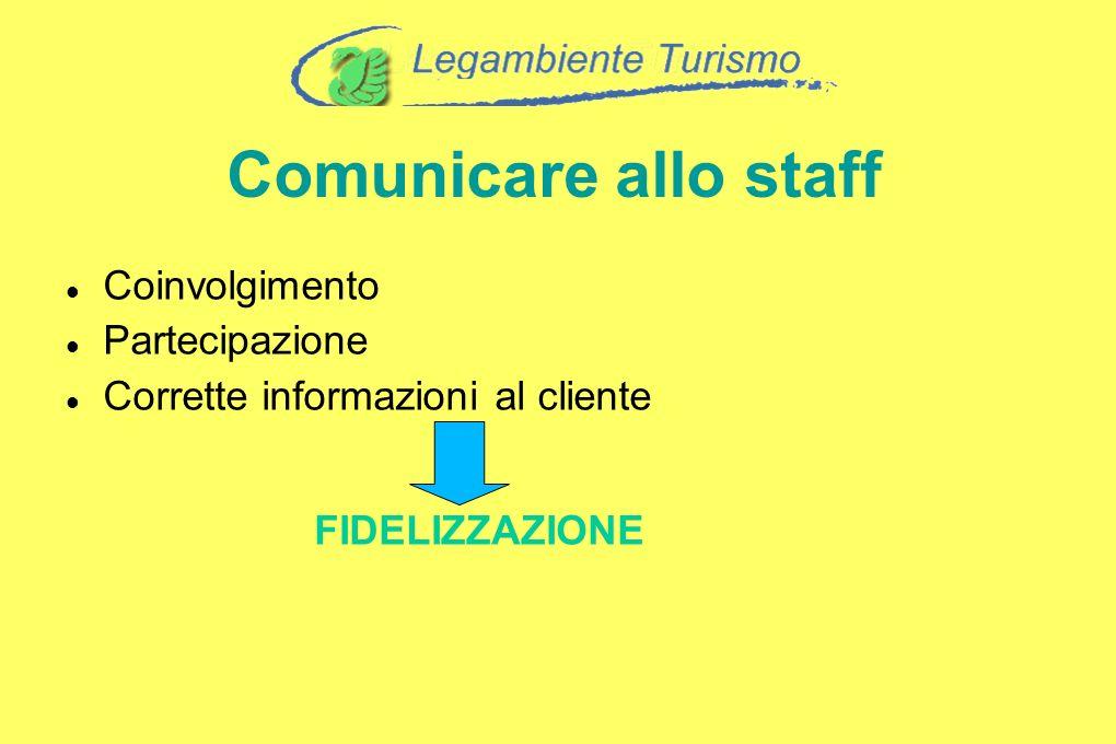 Coinvolgimento Partecipazione Corrette informazioni al cliente FIDELIZZAZIONE Comunicare allo staff