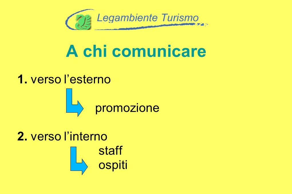 1. verso lesterno promozione 2. verso linterno staff ospiti A chi comunicare