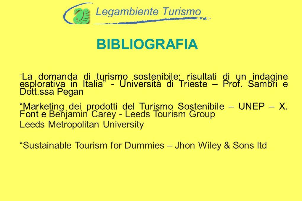 BIBLIOGRAFIA La domanda di turismo sostenibile: risultati di un indagine esplorativa in Italia - Università di Trieste – Prof. Sambri e Dott.ssa Pegan