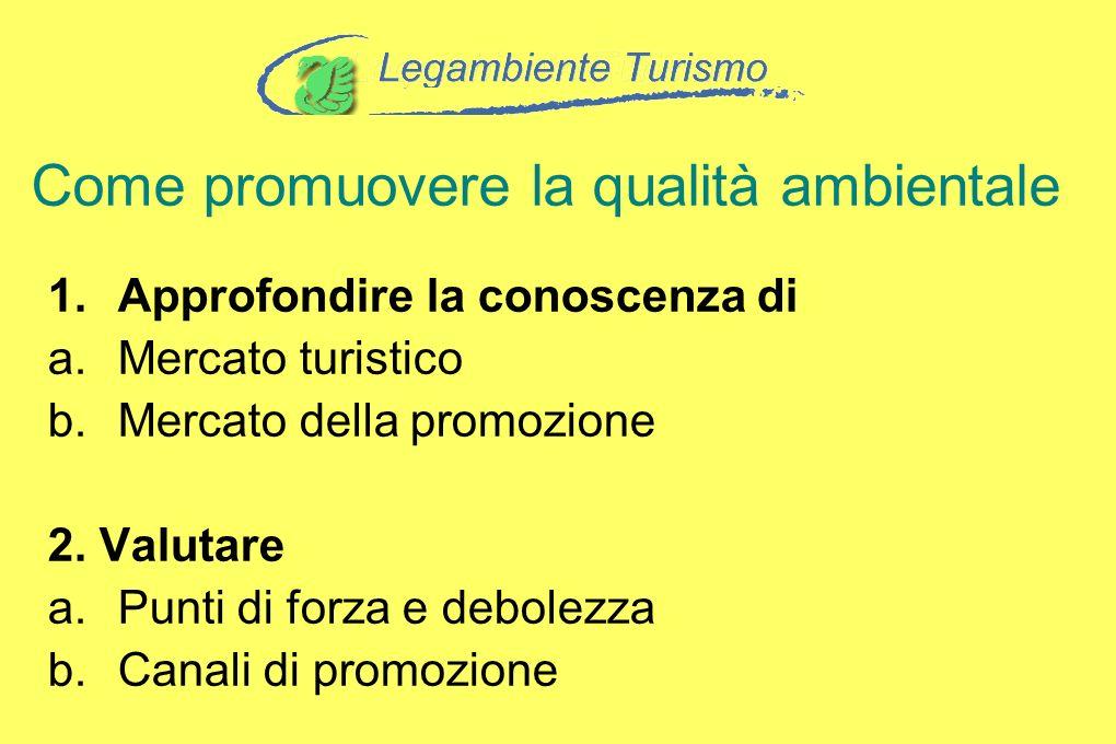 Come promuovere la qualità ambientale 1.Approfondire la conoscenza di a.Mercato turistico b.Mercato della promozione 2. Valutare a.Punti di forza e de