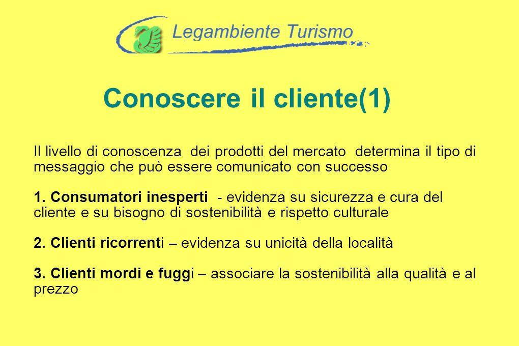 Conoscere il cliente(1) Il livello di conoscenza dei prodotti del mercato determina il tipo di messaggio che può essere comunicato con successo 1. Con