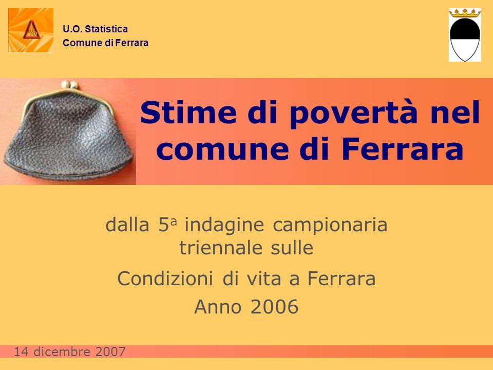 Stime di povertà nel comune di Ferrara dalla 5 a indagine campionaria triennale sulle Condizioni di vita a Ferrara Anno 2006 U.O. Statistica Comune di