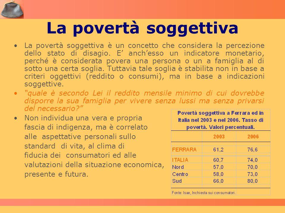 La povertà soggettiva La povertà soggettiva è un concetto che considera la percezione dello stato di disagio. E anchesso un indicatore monetario, perc