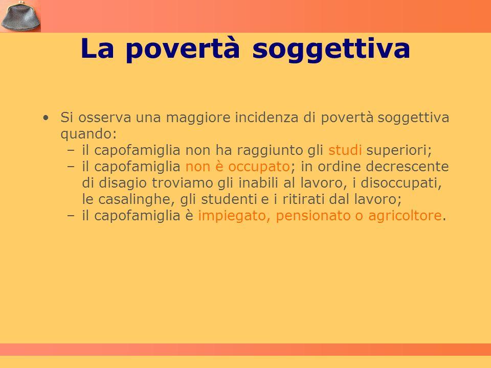 La povertà soggettiva Si osserva una maggiore incidenza di povertà soggettiva quando: –il capofamiglia non ha raggiunto gli studi superiori; –il capof