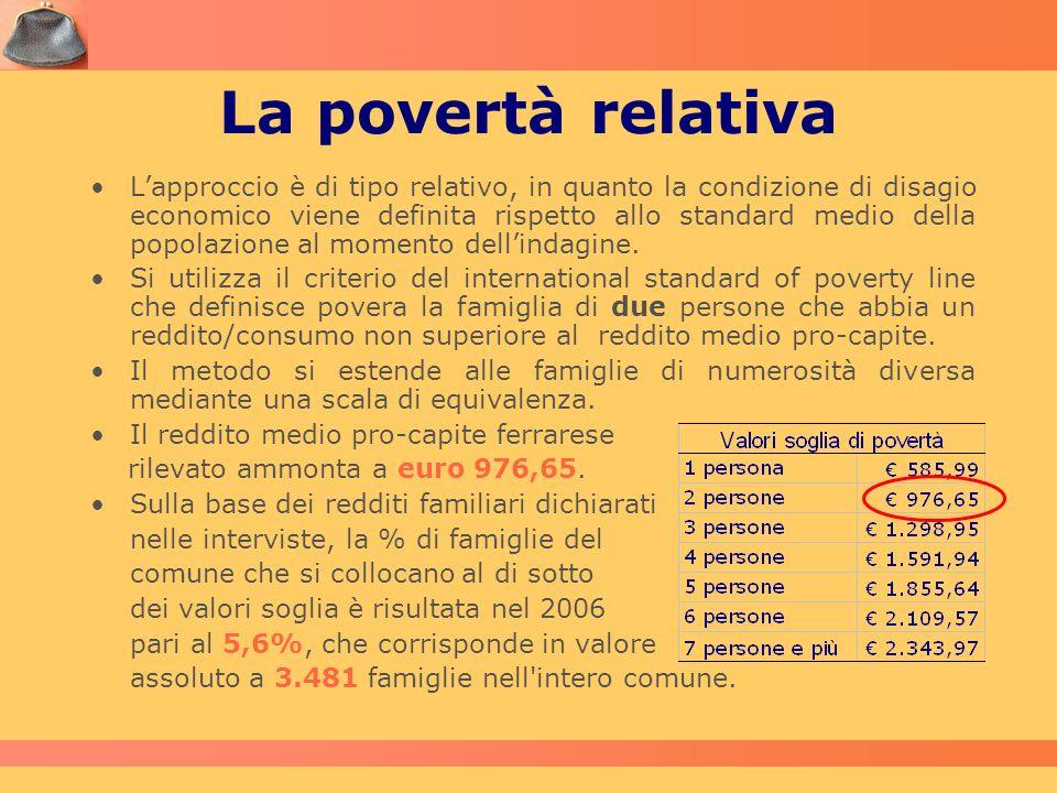 La povertà relativa Lapproccio è di tipo relativo, in quanto la condizione di disagio economico viene definita rispetto allo standard medio della popo