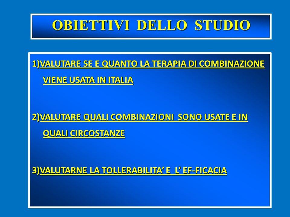 1)VALUTARE SE E QUANTO LA TERAPIA DI COMBINAZIONE VIENE USATA IN ITALIA 2)VALUTARE QUALI COMBINAZIONI SONO USATE E IN QUALI CIRCOSTANZE 3)VALUTARNE LA TOLLERABILITA E L EF-FICACIA OBIETTIVI DELLO STUDIO
