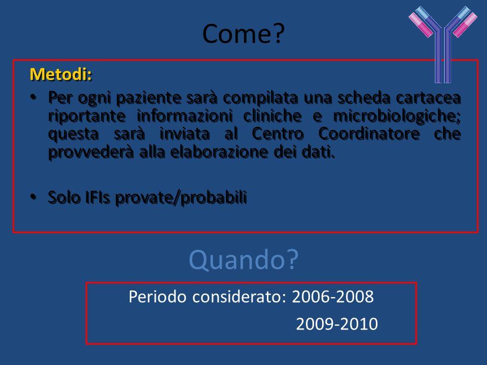 Come? Metodi: Per ogni paziente sarà compilata una scheda cartacea riportante informazioni cliniche e microbiologiche; questa sarà inviata al Centro C