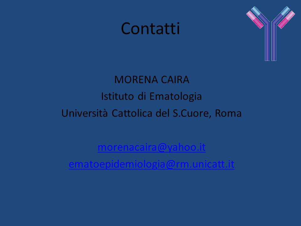 Contatti MORENA CAIRA Istituto di Ematologia Università Cattolica del S.Cuore, Roma morenacaira@yahoo.it ematoepidemiologia@rm.unicatt.it