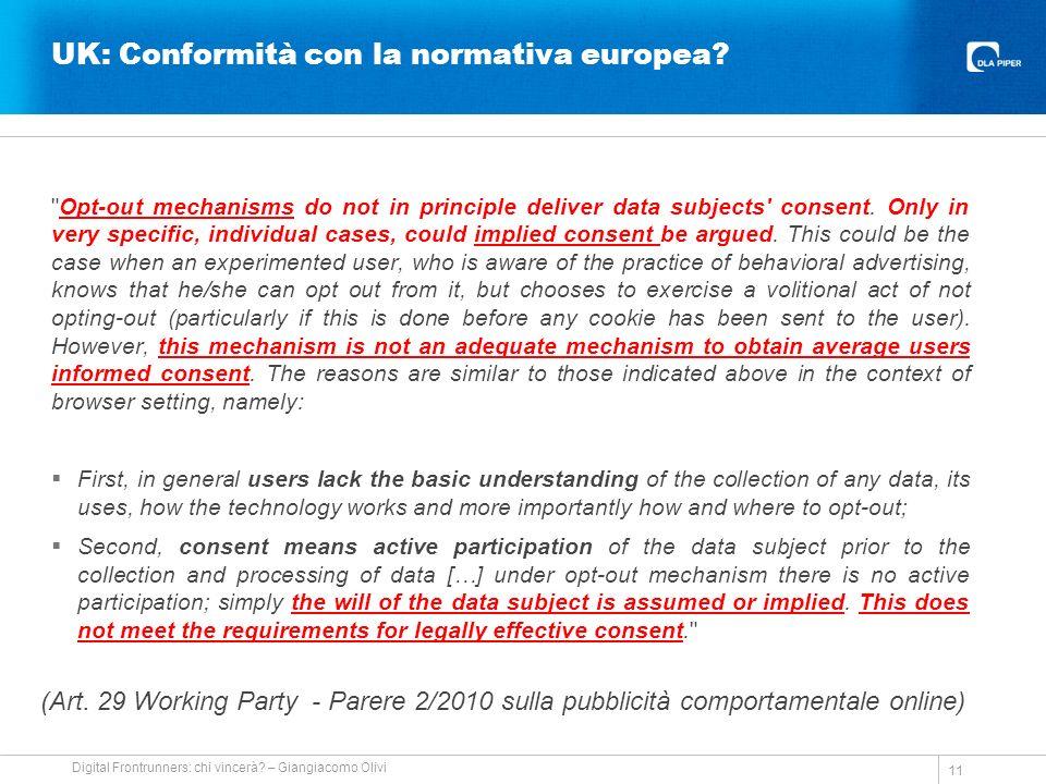 UK: Conformità con la normativa europea.