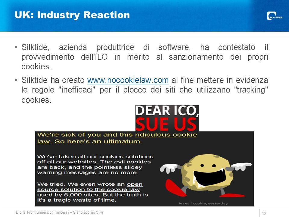 UK: Industry Reaction Silktide, azienda produttrice di software, ha contestato il provvedimento dell ILO in merito al sanzionamento dei propri cookies.