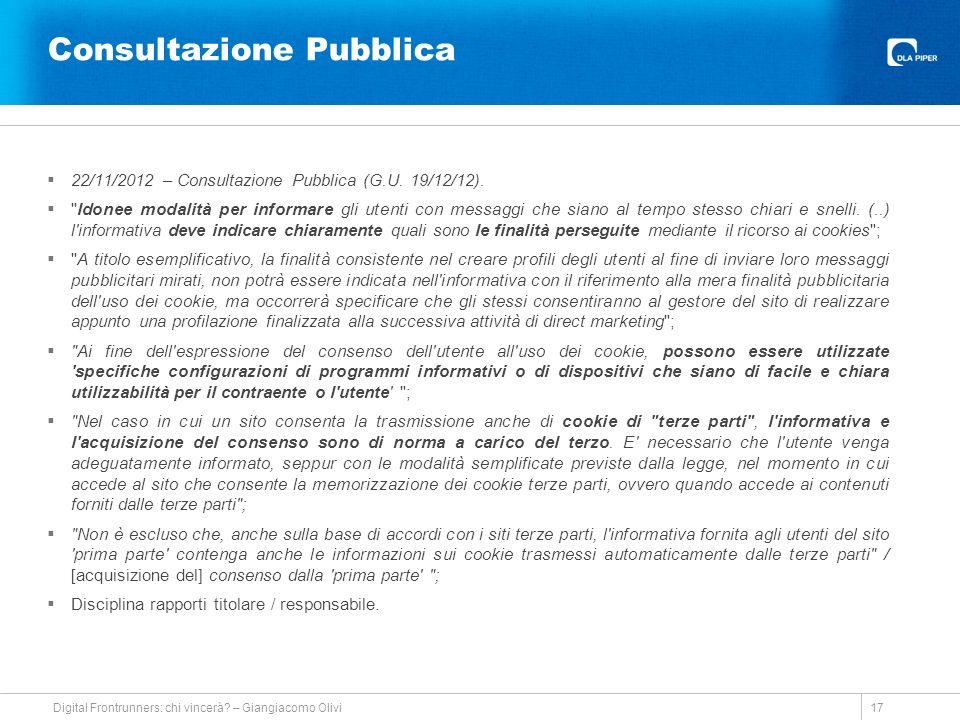 Consultazione Pubblica 22/11/2012 – Consultazione Pubblica (G.U.