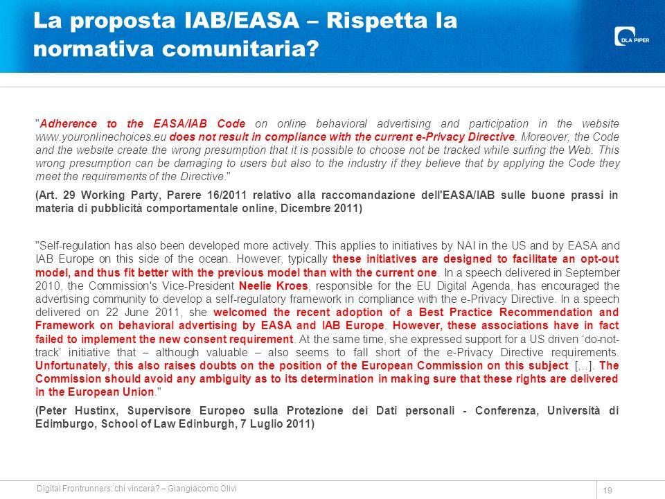 La proposta IAB/EASA – Rispetta la normativa comunitaria.