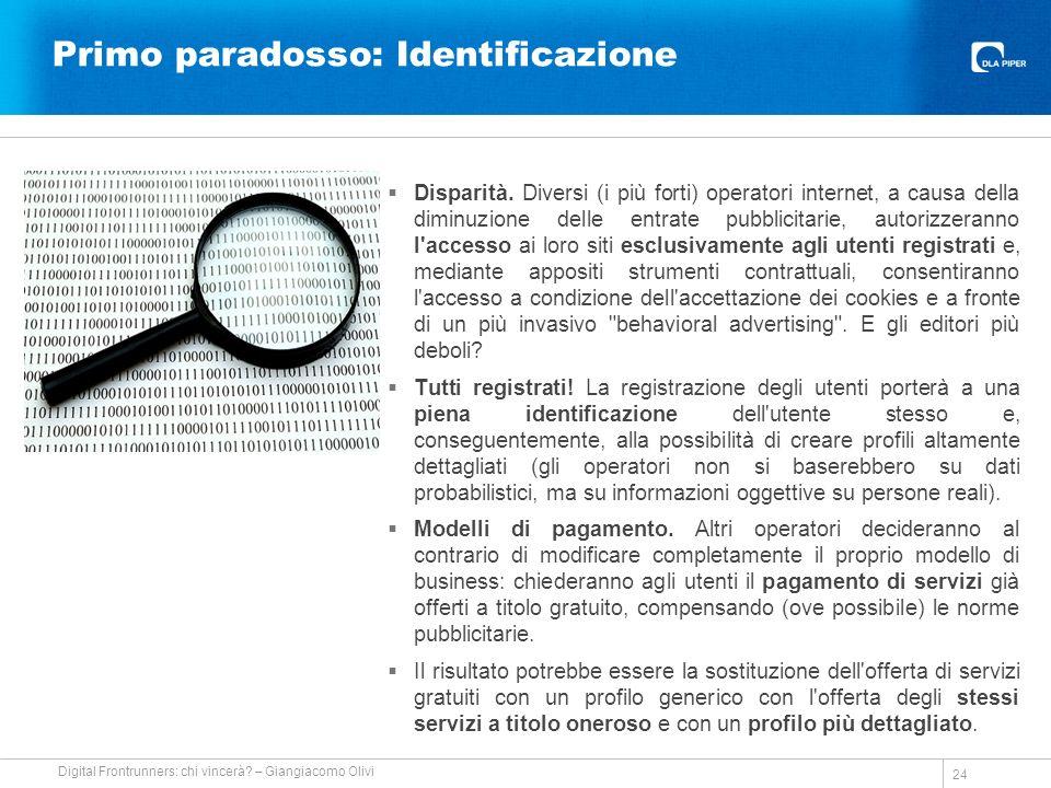 Primo paradosso: Identificazione Disparità.