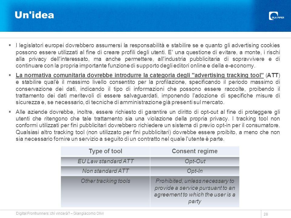 Un idea I legislatori europei dovrebbero assumersi la responsabilità e stabilire se e quanto gli advertising cookies possono essere utilizzati al fine di creare profili degli utenti.