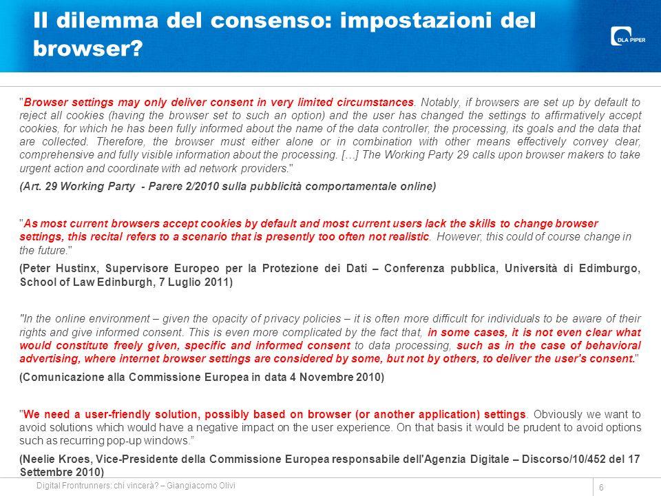 Il dilemma del consenso: impostazioni del browser.