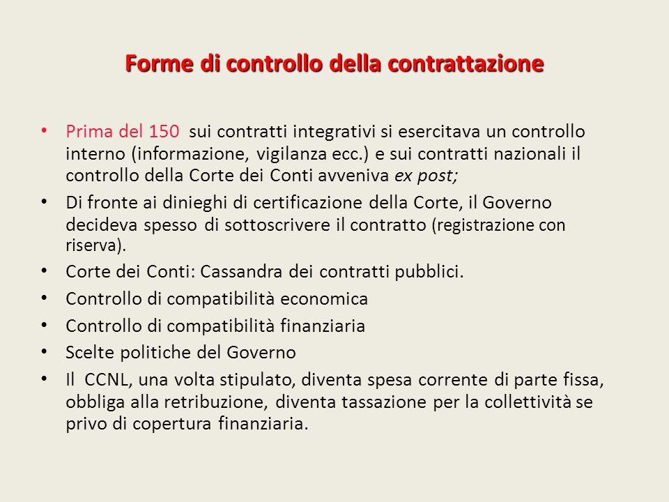 Forme di controllo della contrattazione Prima del 150 sui contratti integrativi si esercitava un controllo interno (informazione, vigilanza ecc.) e su