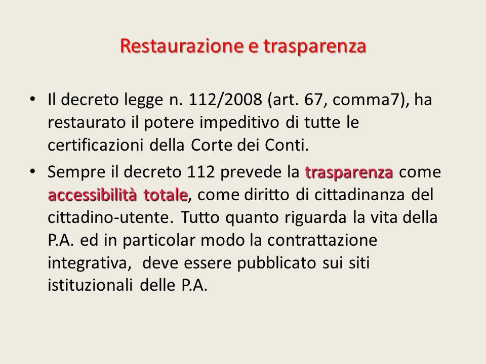 Restaurazione e trasparenza Il decreto legge n. 112/2008 (art. 67, comma7), ha restaurato il potere impeditivo di tutte le certificazioni della Corte
