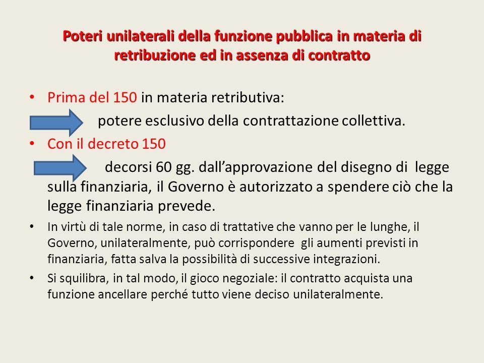 Poteri unilaterali della funzione pubblica in materia di retribuzione ed in assenza di contratto Prima del 150 in materia retributiva: potere esclusiv