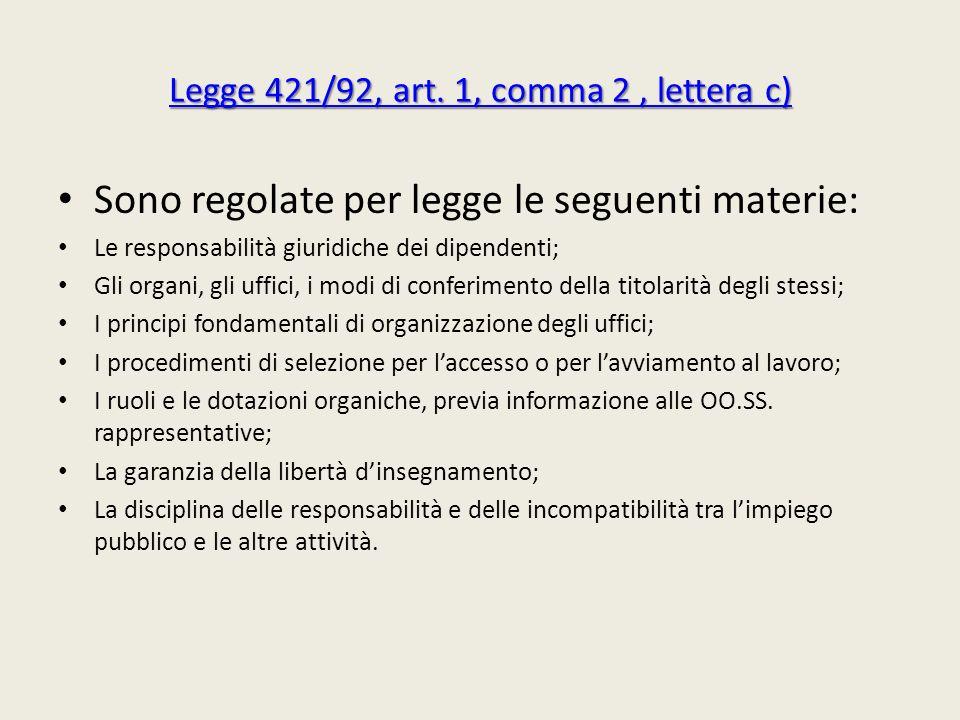 Legge 421/92, art. 1, comma 2, lettera c) Legge 421/92, art. 1, comma 2, lettera c) Sono regolate per legge le seguenti materie: Le responsabilità giu