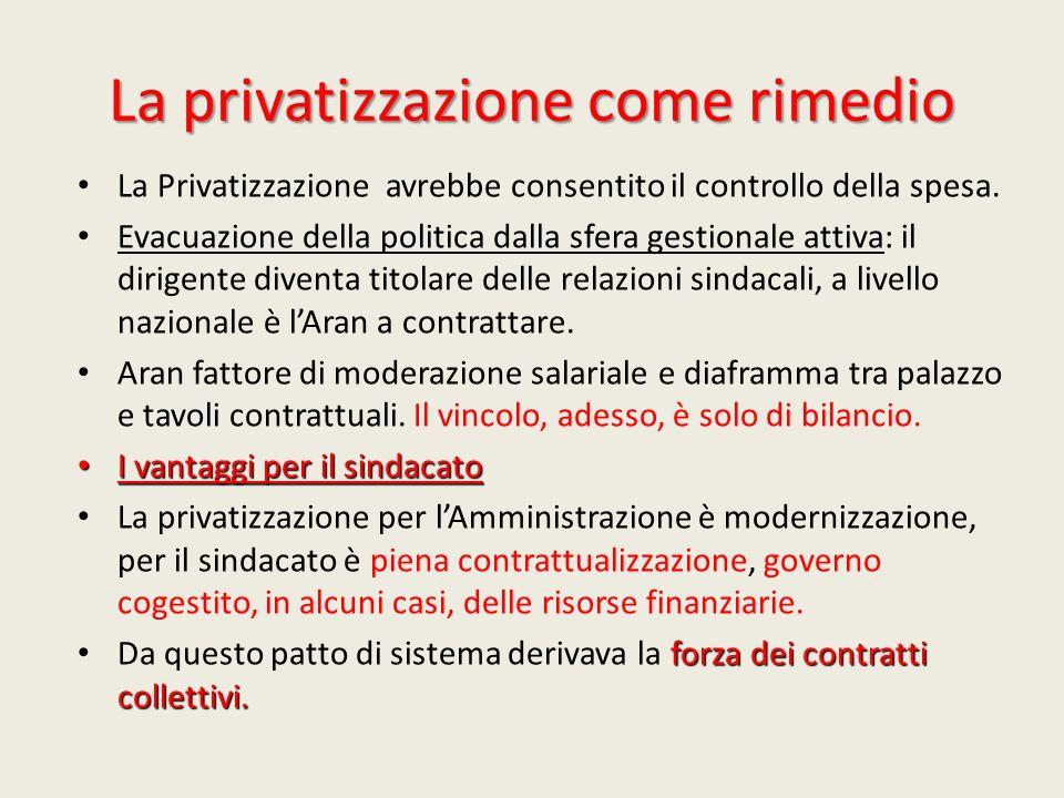 La privatizzazione come rimedio La Privatizzazione avrebbe consentito il controllo della spesa. Evacuazione della politica dalla sfera gestionale atti