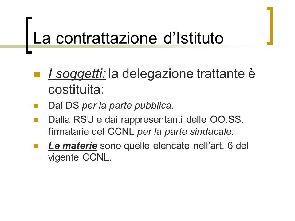 La contrattazione dIstituto I soggetti: la delegazione trattante è costituita: Dal DS per la parte pubblica. Dalla RSU e dai rappresentanti delle OO.S