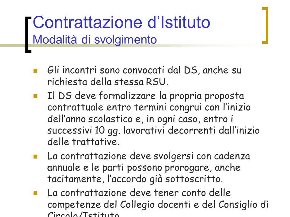 Contrattazione dIstituto Modalità di svolgimento Gli incontri sono convocati dal DS, anche su richiesta della stessa RSU. Il DS deve formalizzare la p