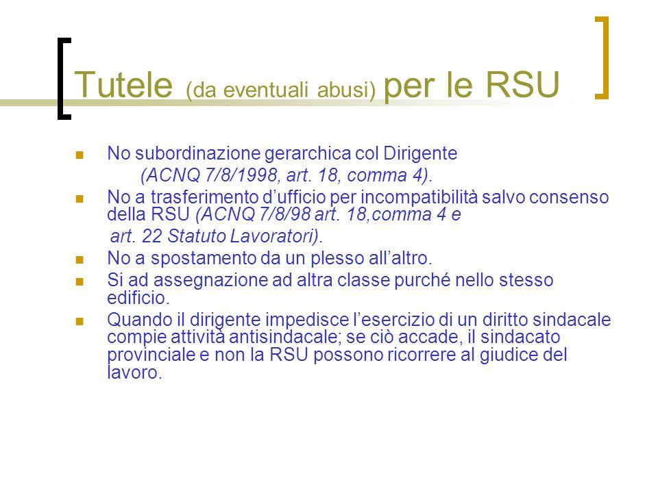 Tutele (da eventuali abusi) per le RSU No subordinazione gerarchica col Dirigente (ACNQ 7/8/1998, art. 18, comma 4). No a trasferimento dufficio per i
