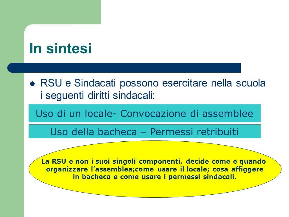 In sintesi RSU e Sindacati possono esercitare nella scuola i seguenti diritti sindacali: Uso di un locale- Convocazione di assemblee Uso della bacheca