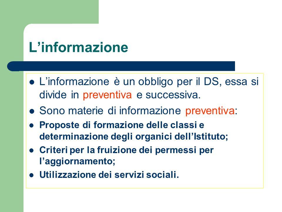 Linformazione Linformazione è un obbligo per il DS, essa si divide in preventiva e successiva. Sono materie di informazione preventiva: Proposte di fo
