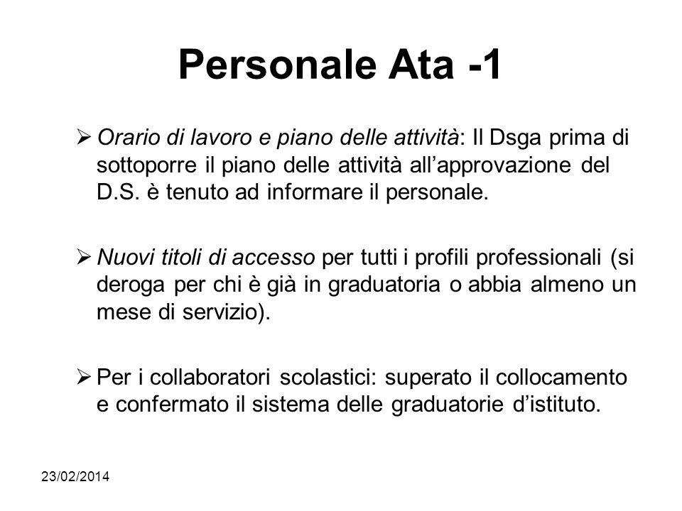 23/02/2014 Personale Ata -1 Orario di lavoro e piano delle attività: Il Dsga prima di sottoporre il piano delle attività allapprovazione del D.S. è te